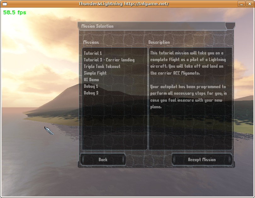 The mission selection dialog