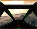 The enemy carrier is displayed slightly larger than other objects on the radar. This is a long-range view. You can toggle displayed range with the R key.